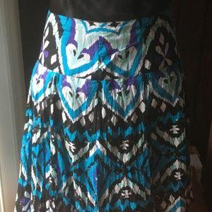 INC Multi Color Cotton Sequin Pleated Skirt